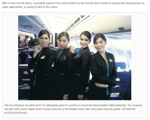 PC Air Ladyboys PC Airlines First to Feature Transsexual Ladyboys AKA Shemales